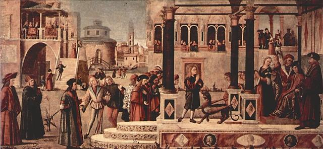 Витторе Карпаччо. Изгнание св. Трифоном дьявола из дочери императора Гордиана