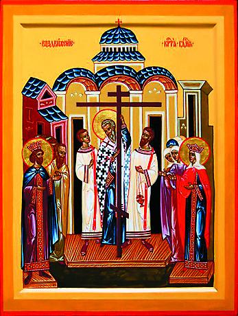 Желая хотя бы издали увидеть Животворящий Крест, народ просил поднять, воздвигнуть его как можно выше