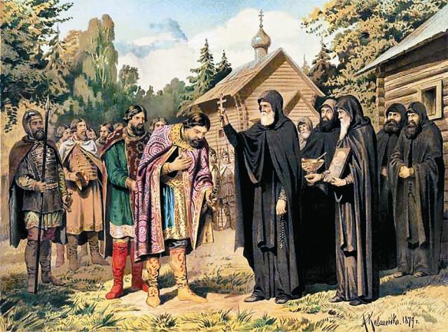 В 1380 году московский князь Дмитрий Донской пришел к Сергию Радонежскому за благословением перед Куликовской битвой