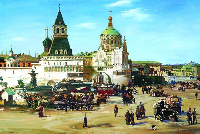 Лубянская площадь, на которой находилось товарищество «Абрикосов и Сыновья». Середина XIX века