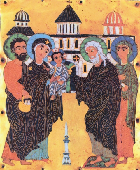 Икона доиконоборческого периода. Младенца держит на руках Богородица