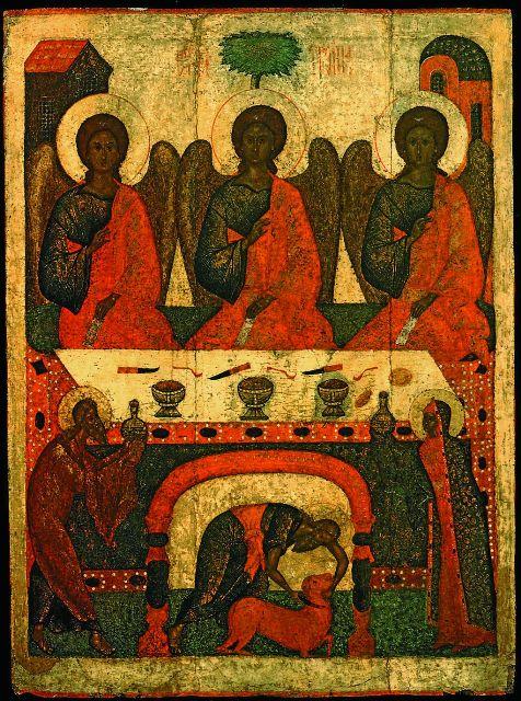 Икона «Троица Ветхозаветная». Псков, XV век