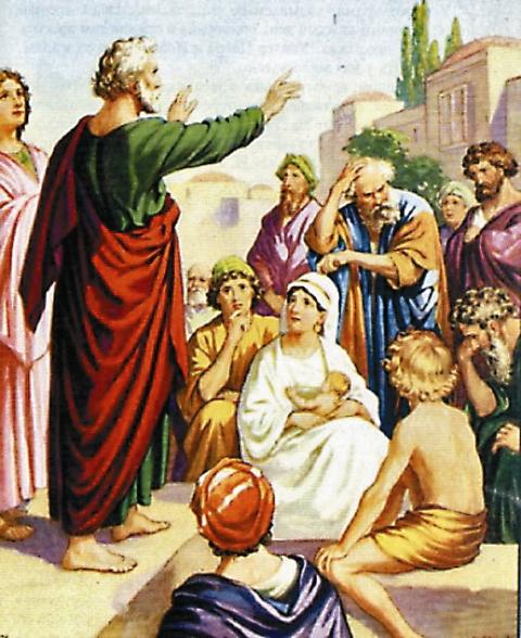 После первой апостольской проповеди многие покаялись и крестились. К вечеру число последователей Христа возросло до 3000 человек