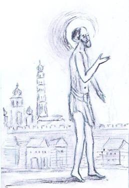 В летний зной и лютую стужу бродил он нагой и босой по улицам города. Его речь было трудно понять, а поступки – объяснить