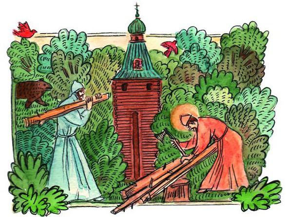 Несмотря на изнурительные посты, Сергий превосходил своей силой каждого: легко поднимал тяжелые бревна и работал топором без устали