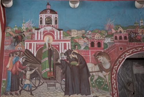 Встреча Патриарха Тихона. Фреска в Донском монастыре.