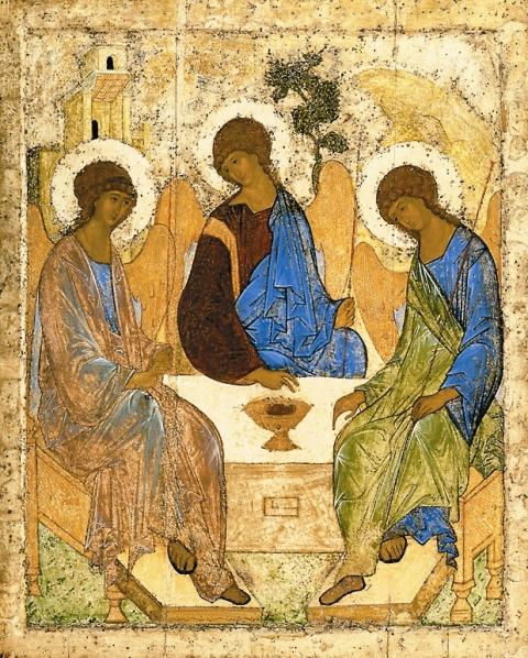 Тропарь праздника святой Троицы Благословен еси, Христе Боже наш, иже премудры ловцы явлей, ниспослав им Духа Святаго, и теми уловлей вселенную, Человеколюбче, слава Тебе.