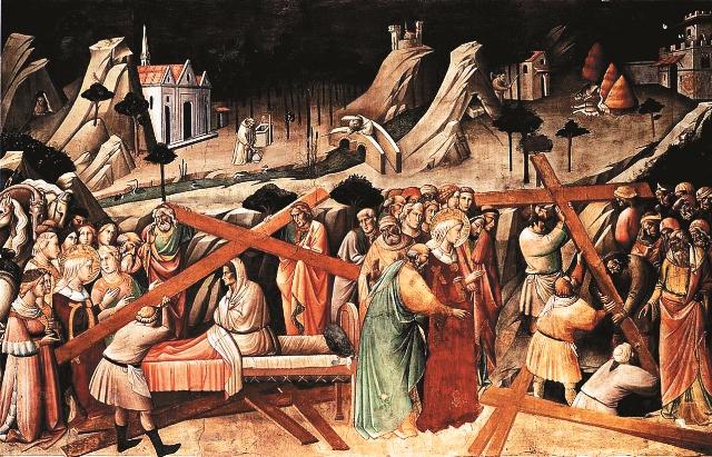 На первые два креста больная женщина не отреагировала. А когда поднесли третий, умирающая «возвратилась к совершенному здравию». Так был обретен истинный Крест Господень
