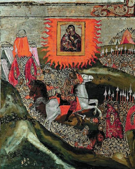 Тамерлану во сне явилась Светозарная Жена в окру- жении грозной армии «молние- носных воинов», и он отступил