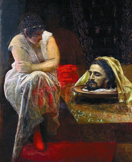 По наущению матери Саломия попросила голову праведника. Торжествуя победу, Иродиада пожелала, чтобы ее принесли на блюде.