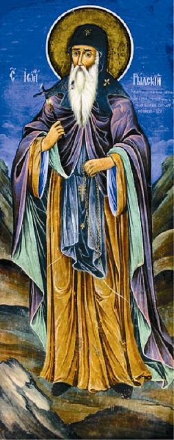 Прп. Иоанн Рыльский. Фреска из притвора храма Введения во храм Пресвятой Богородицы при костнице Рыльского монастыря