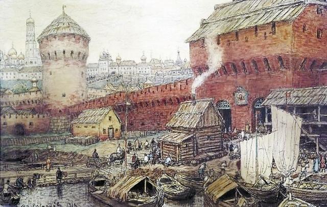 Спасские водяные ворота Китай-города в XVII веке. А.М. Васнецов