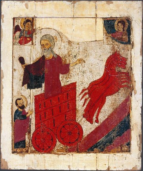 На многих иконах святой пророк Илия изображен именно так: восходящим на небеса на огненной колеснице