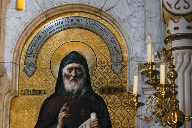 Икона прп. Симеона Дивногорца с посвящением попечителю храма Симеону Викулину