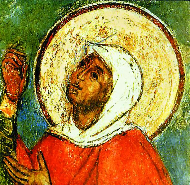 Великомученица Евфимия Всехвальная. Фреска храма Живоначальной Троицы. XVII век
