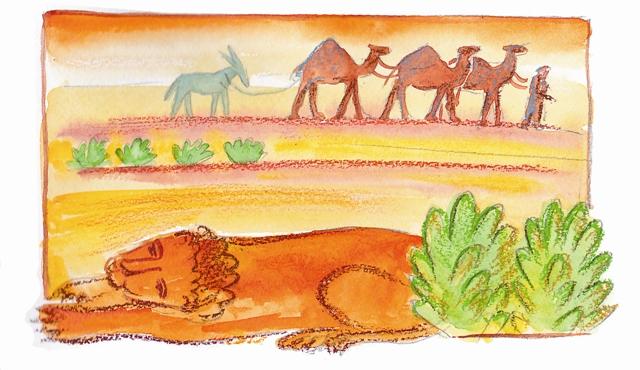 Как-то раз в Иорданской пустыне лев поранил лапу, да так сильно, что та стала распухать и гноиться. Ничем не мог помочь себе царь зверей, лишь горестно волочился, прихрамывая, по пустыне