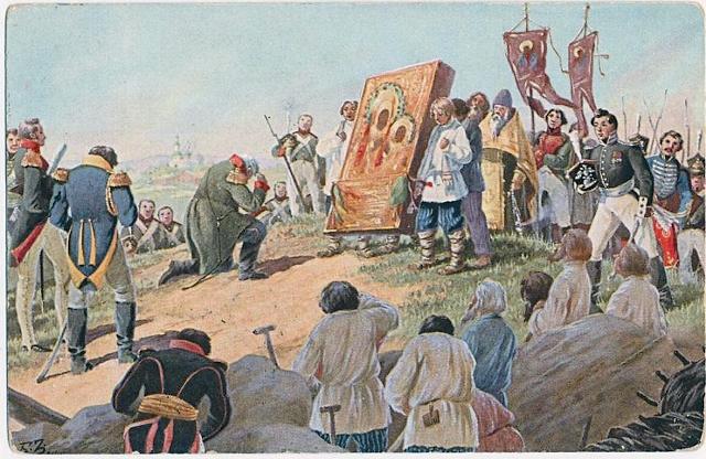Накануне Бородинской битвы перед Казанской иконой молился, склонив голову, главнокомандующий Михаил Кутузов