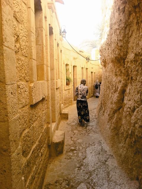 Монастырь представляет собой длинный узкий коридор, протянувшийся по карнизу горы