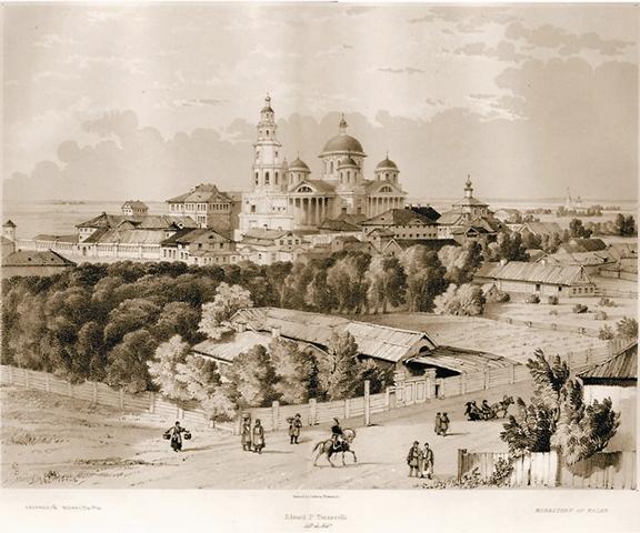 Казанско-Богородичный монастырь на гравюре Э. Турнерелли. Нач. XIX века