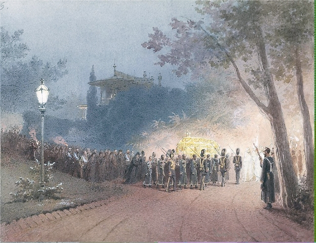 Почившего царя Александра III на руках перенесли в Ялту. Риунок  М.А. Зичи, рисовальщикахроникера церемоний, развлечений и семейных событий высочайшего двора
