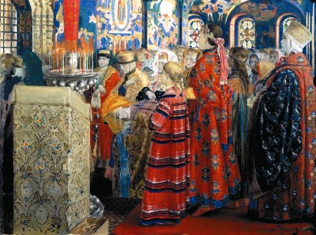 Русские женщины XVII столетия в церкви. Худ. А.П. Рябушкин.  1899