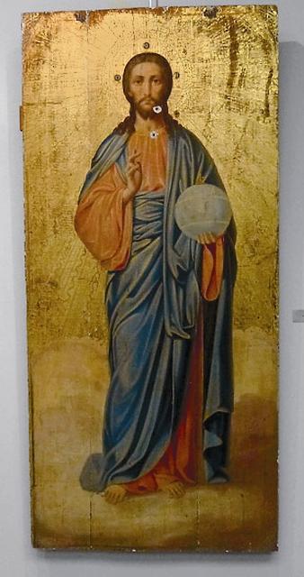 Образ Спасителя со следами пуль. Фото о. Митрофана (Заридзе)