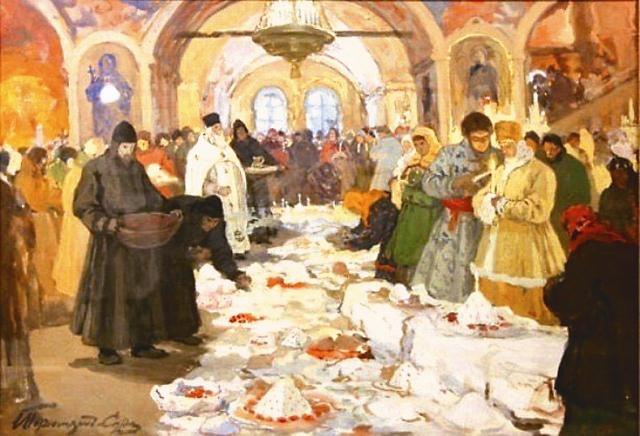 """И.С.Горюшкин-Сорокопудов. """"Обряд освящения куличей"""""""