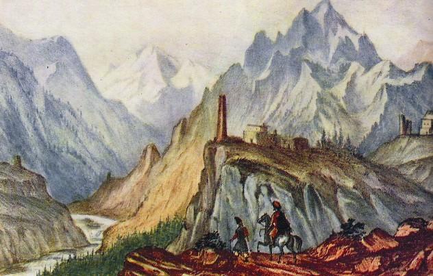 Вид Крестовой горы из ущелья близ Коби. М.Ю. Лермонотов