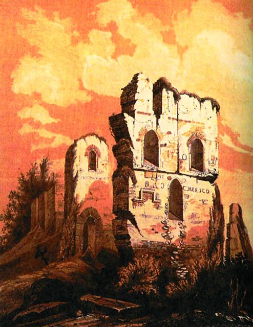 Руины Десятинной церкви. Акварель неизвестного художника. 1826 г.