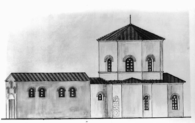 Так выглядела крещальня на момент крешения князя Владимира. Реконструкция С.А. Беляева