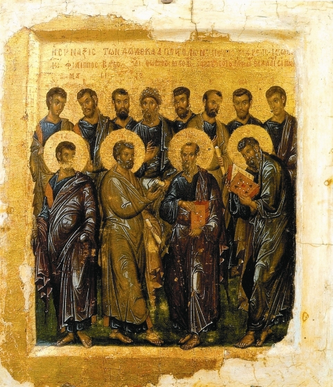 Собор двенадцати апостолов. Эта уникальная икона начала xiv века была привезена с Афона а.н.муравьевым. В настоящее время хранится в ГМИИ, одна из жемчужин византийского собрания музея