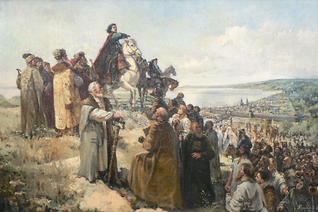 Петр I в Саратове во время азовского похода. На картине В. Полякова царь дарует Саратову попавшие в его поле зрения угодья