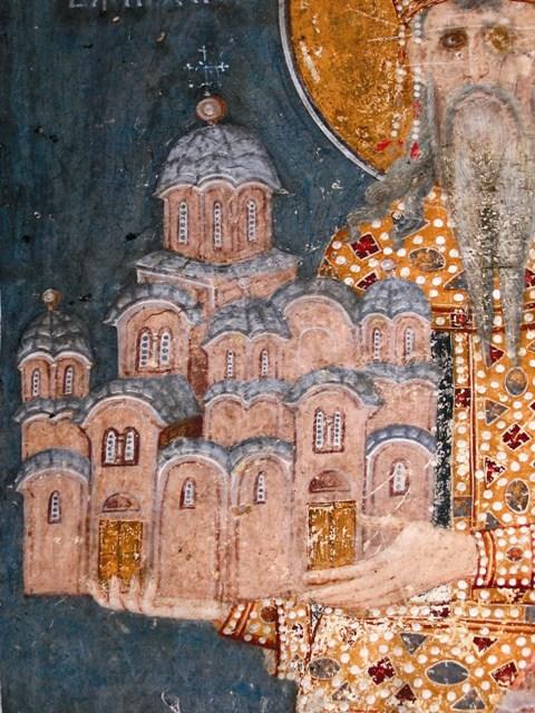 Святой Стефан Урош II Милутин, король Сербский. Фреска монастыря Грачаница, Косово, Сербия. Около 1321 года. Фрагмент.