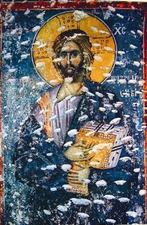 Христос - Хранитель Призрена. Фреска церкви Богородицы Левишки в Призрене.