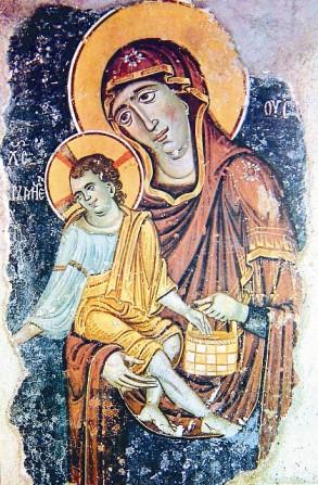 Богоматерь Элеуса (Милующая) с Христом Кормителем. Фреска церкви Богородицы Левишки в Призрене, Косово, Сербия. 1230-е годы.