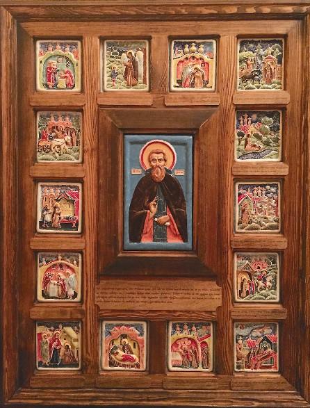 Икона сергия радонежского С житийными клеймами, созданная в керамической мастерской монастыря