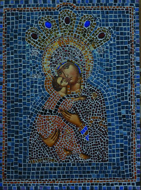 Мозаичная икона Богородицы