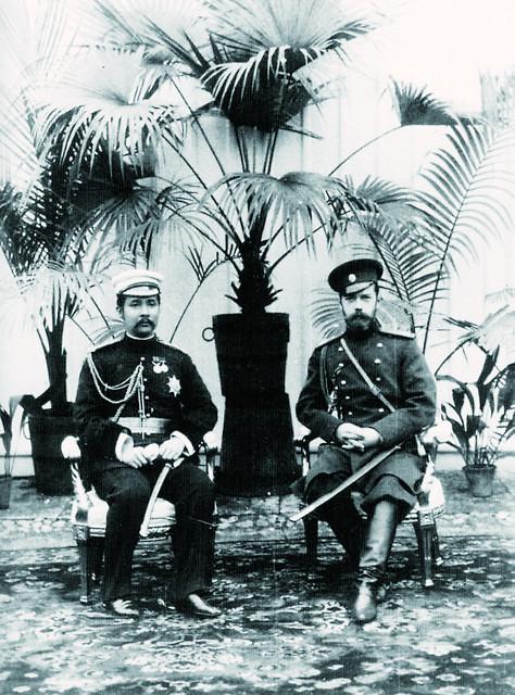 Цесаревич Николай Александрович и принц Сиама Рама V