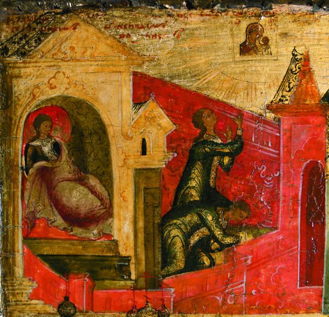 Явление иконы девиче Матроне. Клеймо рамы вторая четверть XVII века. Сольвычегодский историко-художественный музей