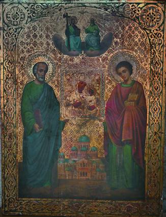 """Святые апостол Симон Кананит и целитель Пантелеимон, держащие икону Божией Матери """"Избавительница"""" на фоне Ново-Афонского монастыря"""