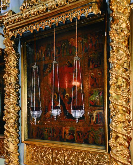 Храмовая икона святого Илии пророка с житийными клеймами