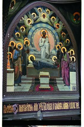 Фрагмент росписи собора святого Пантелеимона: Успение Пресвятой Богородицы