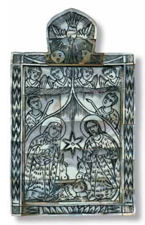 Икона «Рождество Христово». Палестина. Середина XIX века. Перламутр, гравировка, тушь