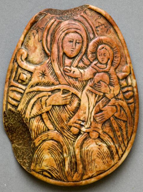 Икона Божией Матери «Вифлеемская». Палестина. XIX век. Камень, резьба. На обороте надпись «Мастеръ Лука»