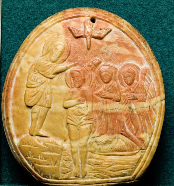 Икона «Крещение Господне». Вифлеем. XIX век. Камень, резьба