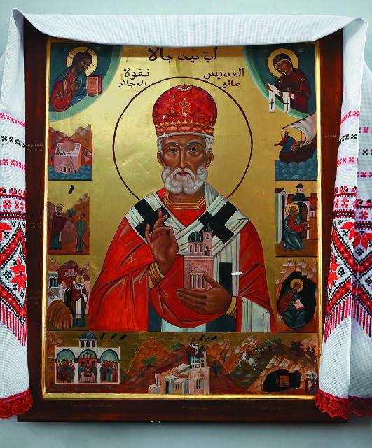 Икона «Отец города» с клеймами, рассказывающими историю спасения Бейт-Джалы