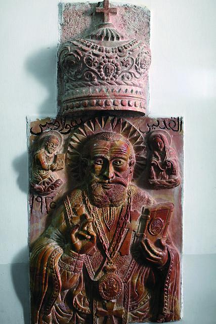 Барельеф с изображением Николая Чудотворца из красного вифлеемского мрамора