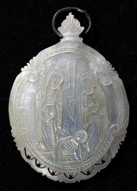 Икона «Рождество Христово». Вифлеем. XIX век. Перламутр, резьба