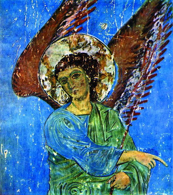 Кинцвисский ангел. Фрагмент росписи собора святителя Николая. ХII-ХIII века