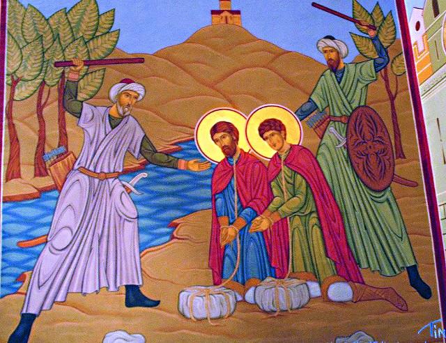 Мученичество ратьев Мхеидзе. Фрагмент росписи в соборе монастыря Моцамета